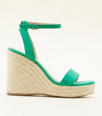Green Suedette Espadrille Wedges