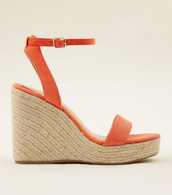 Bright Orange Suedette Espadrille Wedges