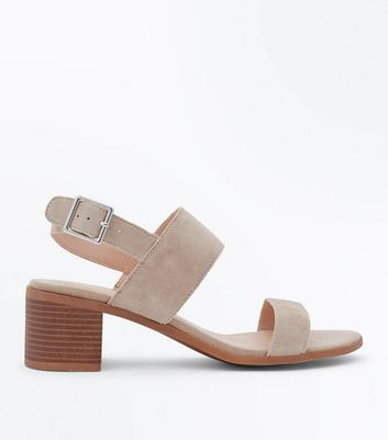 Mink Suede Low Block Heel Sandals