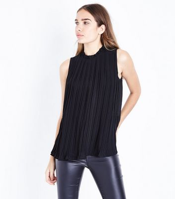 Apricot Black Frill Neck Pleated Top