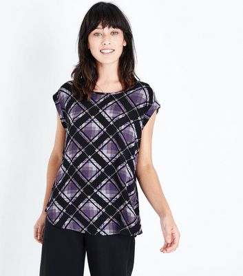 Apricot Purple Check Rolled Sleeve Top