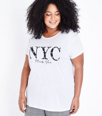 Curves White Pearl Embellished NYC Print T-Shirt