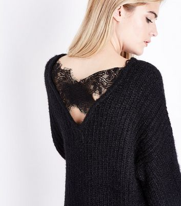 QED Black Lace Cross Back Oversized Jumper