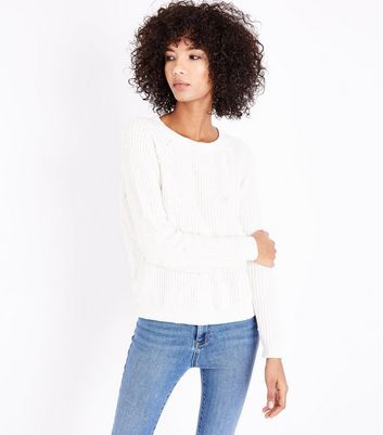 QED White Pearl Embellished Jumper