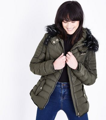QED Green Quilted Faux Fur Hood Trim Puffer Jacket
