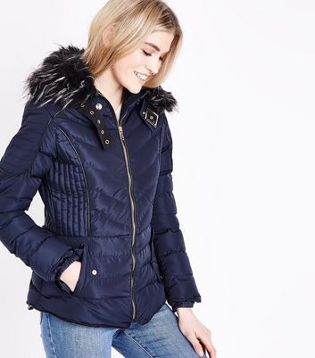 QED Navy Quilted Faux Fur Hood Trim Puffer Jacket