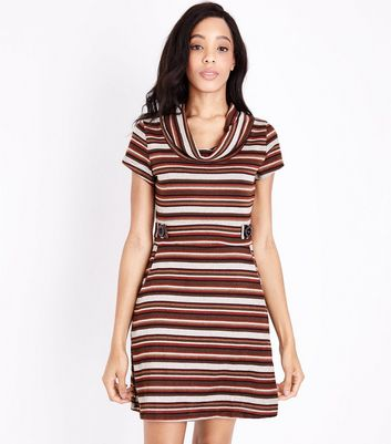 QED Red Stripe Cowl Neck Dress