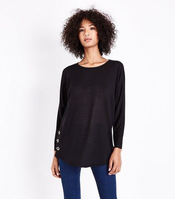 QED Black Eyelet Side Hem Top