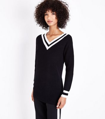 QED Black V Neck Cricket Jumper