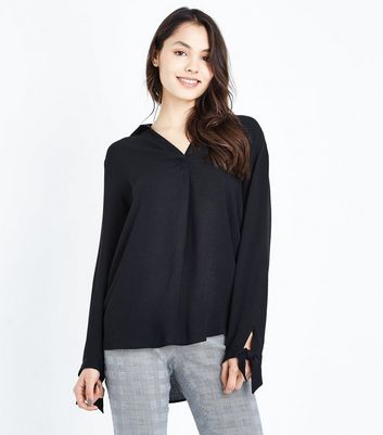 Black Tie Sleeve Dipped Hem Shirt