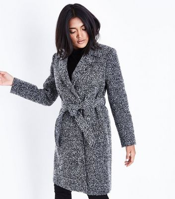 Petite Black Boucle Belted Coat