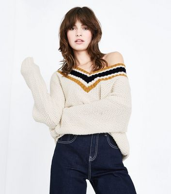White Stripe Cricket Jumper