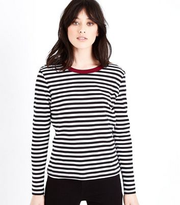 White Stripe Long Sleeve Ringer T-Shirt