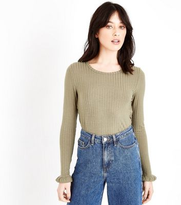 Olive Green Ribbed Frill Cuff Top