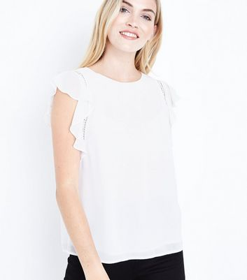 Off White Cut Out Frill Sleeve Top