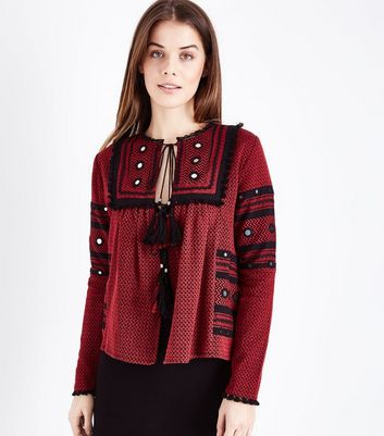 Red Embroidered Mirror Smock Top