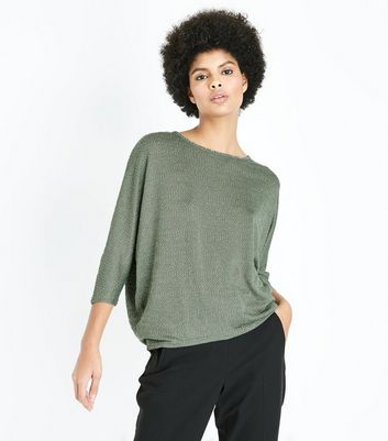 Olive Green Fine Knit Batwing Sleeve Top