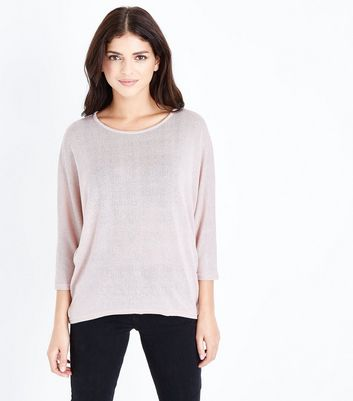Pale Pink Fine Knit Batwing Sleeve Top