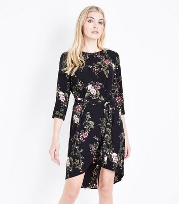 Black Floral Print Dip Hem Tunic Dress