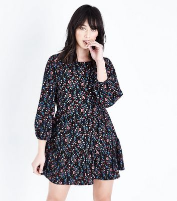 Black Floral Print Smock Playsuit