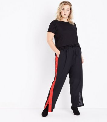 Curves Black Popper Side Stripe Trousers