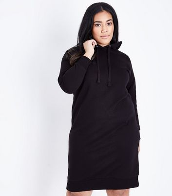 Curves Black Hooded Sweater Dress