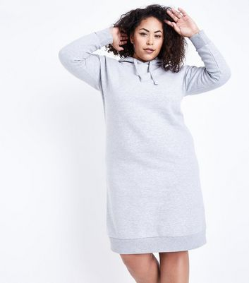 Curves Grey Hooded Sweater Dress