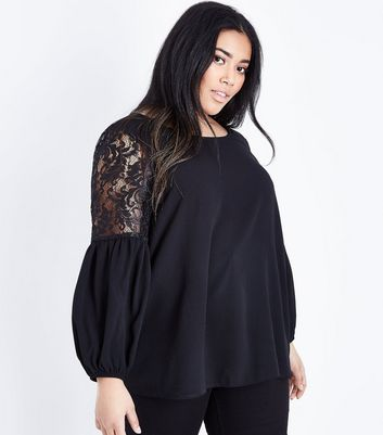 Curves Black Lace Balloon Sleeve Blouse