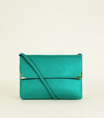 Green Metal Trim Flat Cross Body Bag