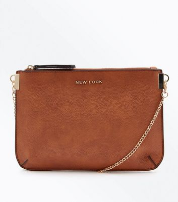 Tan New Look Branded Chain Shoulder Bag