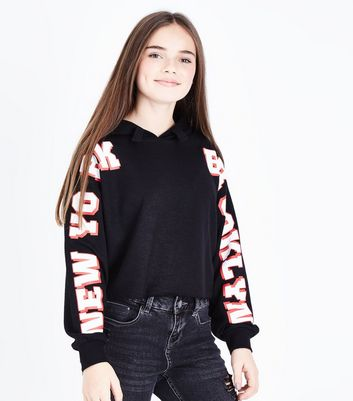 Teens Black New York Brooklyn Slogan Sleeve Hoodie