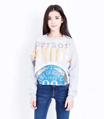 Teens Grey Detroit Michigan Metallic Slogan Front Sweatshirt