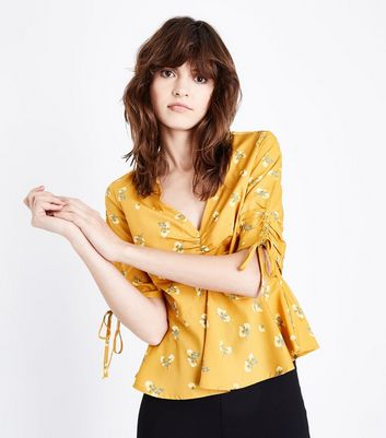 Yellow Floral Print Gathered Front Peplum Top