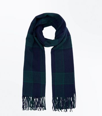 Black And Blue Check Longline Scarf