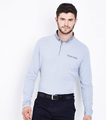 Blue Long Sleeve Polo T-Shirt