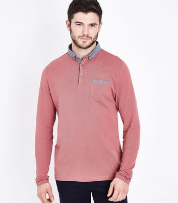 Pink Long Sleeve Polo T-Shirt