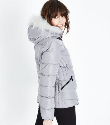 Grey Faux Fur Trim Hooded Puffer Jacket