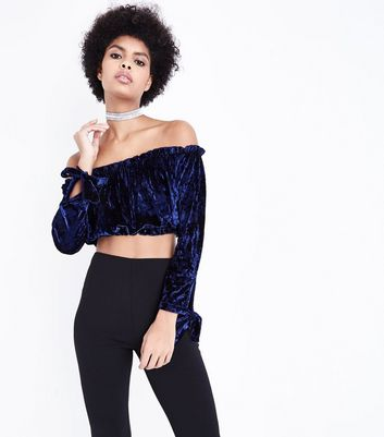 Navy Velvet Gathered Bardot Crop Top