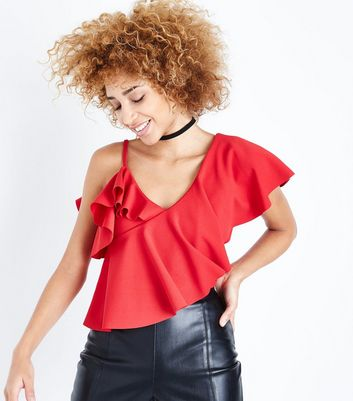 Red Asymmetric Frill Crop Top