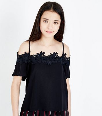 Teens Black Crochet Trim Cold Shoulder Top
