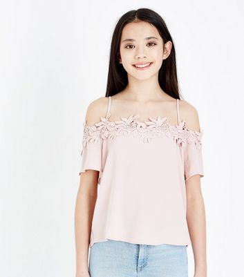 Teens Pale Pink Crochet Trim Cold Shoulder Top