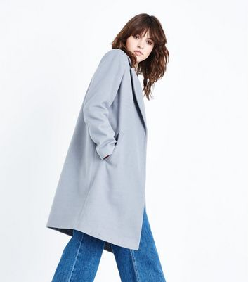 Pale Grey Revere Collar Split Back Coat