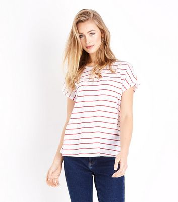 Red Stripe Organic Cotton Pocket Front T-Shirt