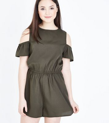 Teenager – Khakifarbener Cold-Shoulder-Playsuit