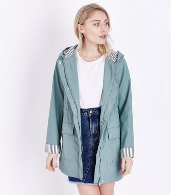 Petite Mint Green Stripe Lined Anorak