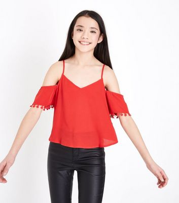 Teens Red Cold Shoulder Pom Pom Trim Top