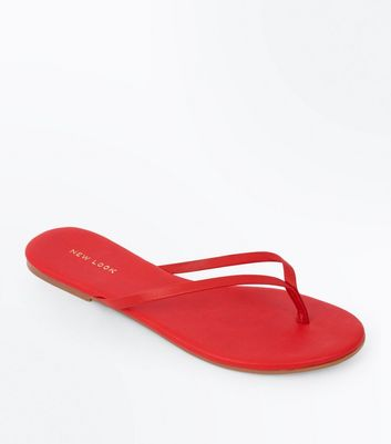 Red Leather Flip Flops by New Look