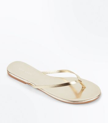 Gold Metallic Leather Flip Flops
