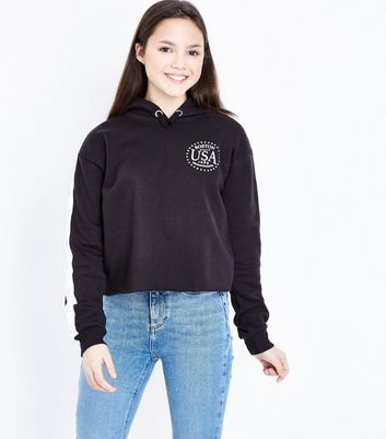 Teens Black Popper Tape Side Sleeve Hoodie