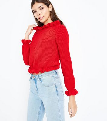Cameo Rose Red Frill Edge Jumper